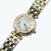 Panther Round Off White Dial Quartz K18 Stainless Steel Ss Menand039s Watch
