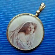 Large 9ct Gold Photo Picture Locket Pendant Mourning Sweetheart H/m 1911 Glasgow