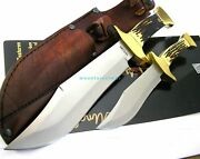 Schrade Uncle Henry Bowie 2 Pc Set Large 13 And Sml 8 3/4 Fixed Bld Knife Uhcom3