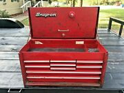 Vintage Red 9 Drawer Snap-on Tool Box Chest 9 Drawer 26 Long 14 Tall