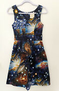 Modcloth Heart And Solar System A-line Dress Size Xs 100 Cotton Pockets