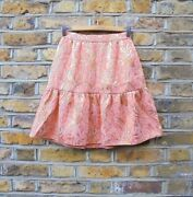 Dolce And Gabbana Dandg Runway Pink And Gold Jacquard A-line Flare Skirt Size Uk 6