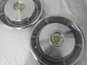 Pair Of Vintage 1966 1967 Cadillac Hubcaps Wheel Covers With Slots 66 67