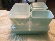 Pyrex 7 Pc. Turquoise Refrigerator Set Dishes With Lids 501 502 503