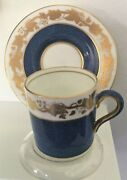 Wedgewood Bone China Whitehall Blue Band And Gold Leaf Demitasse Cup And Saucer