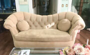 Gorgeous 8' Hollywood Regency Mcm Sofa By Amini Of Mansion Furniture
