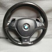 2007-13 Bmw X5 E70 X6 E71 M Sport Leather Steering Wheel W/ Paddle Shift And Srs