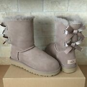 Ugg Short Bailey Bow Ii Caribou Water-resistant Suede Boots Size Us 7 Women