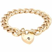 Vintage 9ct Yellow Gold 7.5 Curb Bracelet W/ Safety Chain And Heart Padlock Clasp