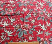 Rare French 19thc Hand Block And Resist Turkey Red Floral Indienne Fabric27x32