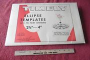 Lot Of 5 Timely Drafting Ellipse Template Tools 15 Degree - 60 Degree Vintage