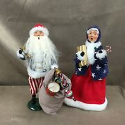 Lot Of Two Byers Choice The Carolers Santa And Mrs Claus In Stars And Stripes Signed