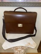 Alfred Dunhill Brown Executive Briefcase With Shoulder Strap Lock