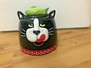 Rare Cat Head Ceramic Treat/cookie Jar/collectibles 9 Inches High