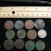 11pcs 1600s French Colonial Copper Liard And Double Tournois Buried Treasure Coins