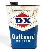 Vintage Dx Sunray Outboard Marine Motor Oil 1964 Empty One Quart Metal Can