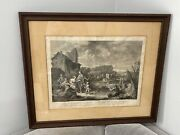 Antique Italian Engraving Print After Wagner Scenes Of Bucolic Life