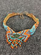 Antique Native American Hand Made Beads Leather Choker Necklace