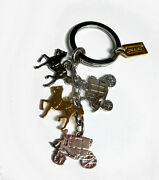 Coach Mixed Metals Horse And Carriage Key Fob Keychain 67385 Rare And Htf