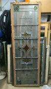 Antique Stained Glass Panel/transom - Colored And Colorless - 22-3/8x68x1