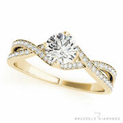 0.85 Ct Twist Diamond Solitaire Engagement Ring Round H/si1 14k Yellow Gold