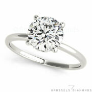 1.08 Ct D/si2 Real Diamond Solitaire Engagement Ring Round Solid 14k White Gold