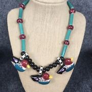 Stunning Vtg. Flying Colors Hand Painted Ceramic Ducks Pendant Necklace