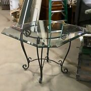Octagonal Square Glass Top Wrought Iron Table