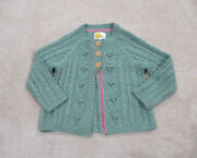 Boden Sweater Youth Small Size 7 Green Pink Buttons Knit Cardigan Kids Girls
