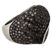 Natural 3.55ct Diamond Pave Ring Solid 925 Sterling Silver Vintage Look Jewelry