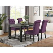 Leviton Antique Black Finished Wood Dining Set Table With Purple Four Chair