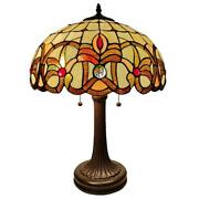Amora Lighting Table Lamp Stained Glass Shade Dual Pull Chain Switch 24 In. H