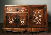 16.6 Rare Old Huanghuali Wood Inlay Shell Dynasty Flower Birds Drawer Cupboard