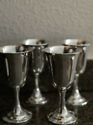 Set Of 4 Sterling Silver Lord Saybrook International Wine Water Goblets Cups