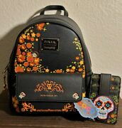 Loungefly Disney Pixar Coco Mini Backpack W/ Matching Credit Card Holder New Nwt