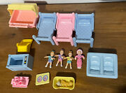 Playskool Victorian Dollhouse Loving Family Mixed Lot Baby Frame Stroller Bed
