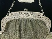 Vintage Victorian Sterling Silver Mesh Chain Handbag With Change Purse Ds43