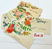 Mixed Flowers Victorian Calling Cards Name Ephemera Antique Lot 16 Roses Blue