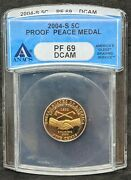 2004-s Proof Peace Medal Jefferson Nickel Pf69 Dcam Vibrant Golden Yellow Toning