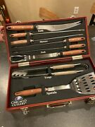 New Chicago Cutlery Bbq Outdoor Grilling 8 Piece Set W/ Wooden Box Tailgating