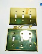2 Triple Toggle Wall Switch Plate Cover Polished Brass Finish