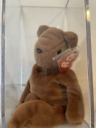 Authenticated Ty Beanie Baby - Teddy Old Face Brown - 1st/1st Gen Tags Mwnmt