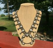 Old Pawn Navajo Sterling Silver Mother Of Pearl Squash Blossom Necklace Earrings