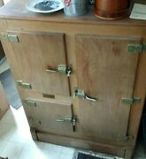 1940and039s Antique 3 Comp Wood Ice Box. Very Good Condition. Local Pickup Only.