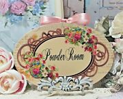 Shabby Chic Vintage French Country Cottage Style Wall Decor Sign Powder Room
