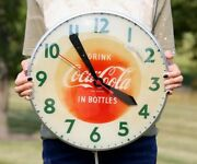 Vintage Coca Cola Bubble Glass Lighted Wall Clock Swihart Products Soda Pop Sign