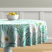 Round Tablecloth Watercolor Palms Mint Green And Gold Tropical Cotton Sateen