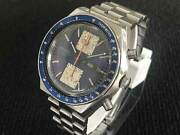 Seiko Chronograph 6138-0030 Blue Dial Automatic Vintage Watch 1970and039s