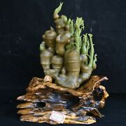 12.8 Chinese Natural Xiu Jade Jadeite Carved Ginger Zingiber Officinale Statue