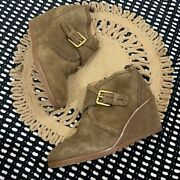 Franco Sarto Arielle Wedge Ankle Boot Bootie Tan Women's Size 9.5 Buckle